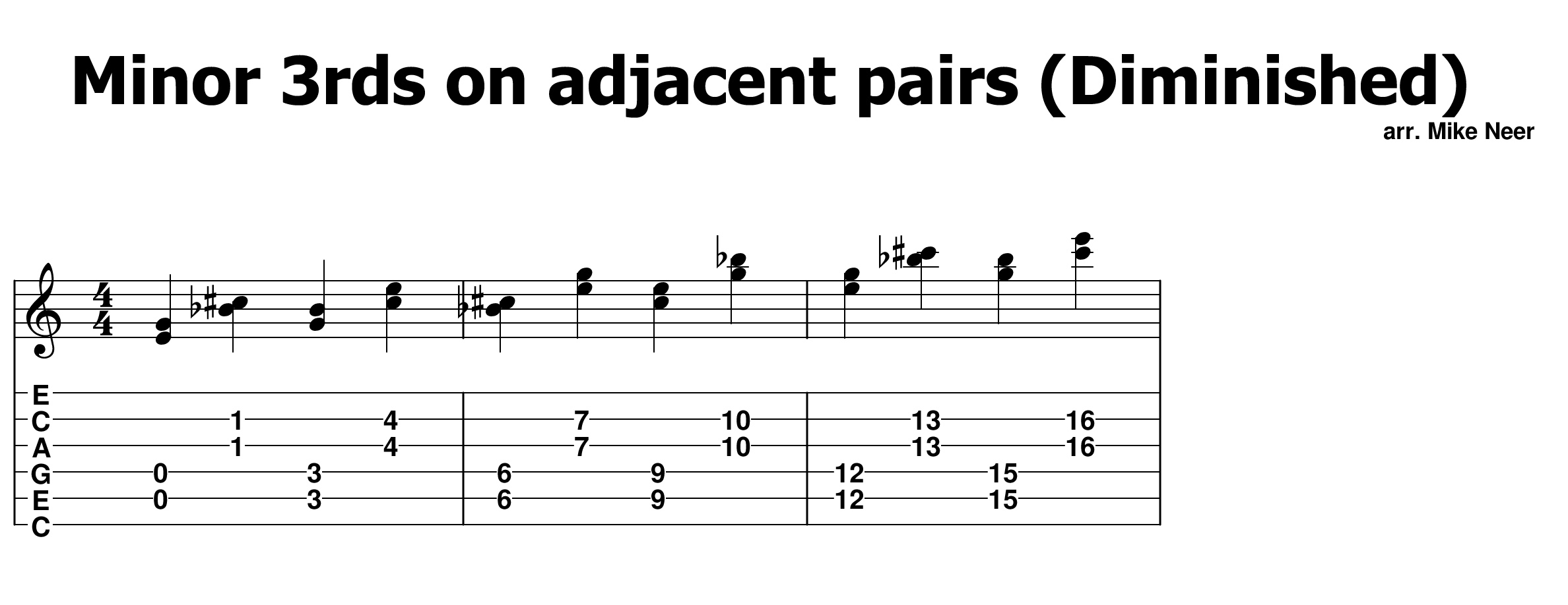 Minor 3rds on adjacent pairs (D